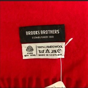 New Brooks Brothers Red Scarf 100% Lambswool